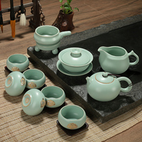 Authentic your kiln porcelain tea set group tureen piece of ice to crack open cup teapot bag mail XY145 meditation cup