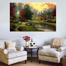 Thomas Kinkade Production Peaceful Countryside Landscape Pastoralism Prints Canvas Wall Art for Living Room Decor Custom