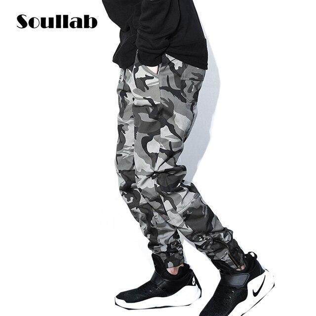83c93b9cf036 SOULLAB glissière latérale foncé camo camouflage hommes bas slim fit skinny  sur la taille jogger pantalon