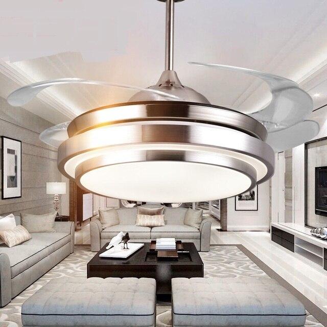 Esszimmer Schlafzimmer Deckenventilator Lichter Unsichtbare Ruhig Einfach  Moderne Frequenz Fernbedienung Decke Led Lampe ZA