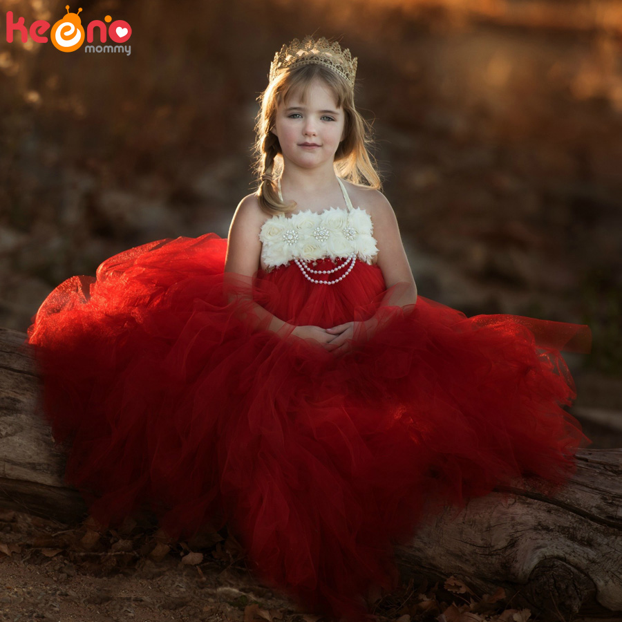 Handmade Shabby Flower Girl Tutu Dress Princess Kids Wedding Tulle Dress for Girls Birthday Party Pageant Ball Gowns Clothes (4)
