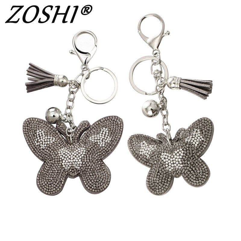 2020 Colorful Crystal Keychains Butterfly Pendant Key Chain Porte Clef De Bag Charms Leather Tassel Keychain Keyring