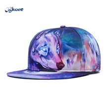 BKONE 2017 3D Baseball Cap Adjustable Flat Wild Wolf Snapback Casquette Leisure Gorras Breathable Bones Unisex Sun Hat