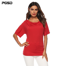 PGSD Summer Simple Fashion Women Clothes Stacked collar strapless short sleeve O-Neck Red T-shirt Loose Pullover female Top Tee цена