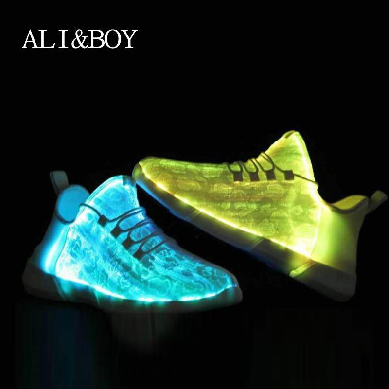 2018 New Arrivals 7-color Led Lighted Shoes Usb Charging Optical Fiber Braid Men Running Shoes Sport Sneakers Led Shoes For Men 2017 new usb charging glowing shoes kids led sneakers luminous lighted colorful led lights up children shoes boy girl shoes