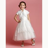 LAN TING BRIDE A-Line Tea Length Flower Girl Dress - Tulle Short Sleeves Jewel Neck