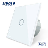 Livolo EU Standard VL C701SR 11 1Gang 2 Way Touch Remote Switch White Crystal Glass Panel