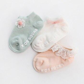 3 Pairs/lot Infant Baby Socks Spring for Girls Cotton Newborn Boy Toddler Princess Style Flower Floor Sock
