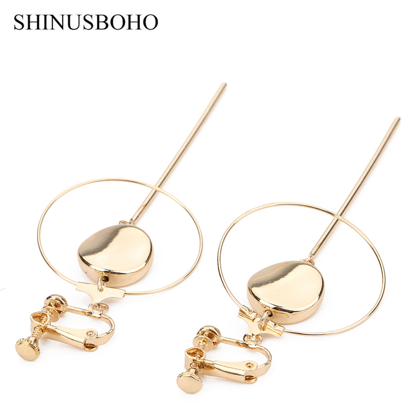 Office Style Earrings Simple Geometric Graphic Gold-color Clip Earrings Fashion Women Earrings 2018 Jewelery Holiday Gifts