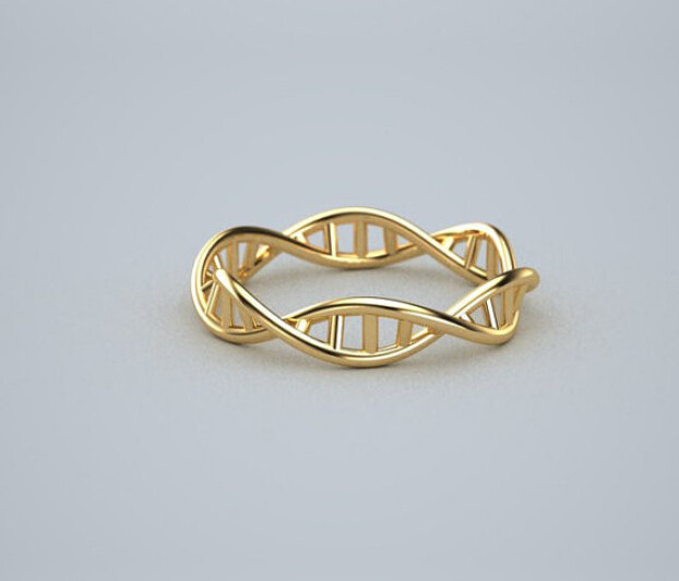 DNA Ring- 18k Gold Plated DNA Ring Chemistry Ring, Science Ring, Molecule Ring