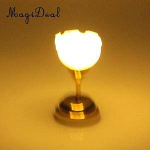 Image 5 - 1:12 סולם בית בובות מיניאטורות ריהוט קישוט LED שולחן אור תקרת מנורת סוללה מופעל פלסטיק אור אביזרים