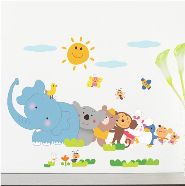 Cartoon Animals for Kids Room Sticker Wall Decals For Kid Room Bedroom Living Room Decorative Stickers PVC Wall Stickers