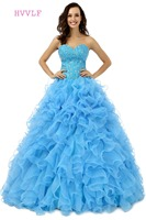 Blue Quinceanera Dresses 2019 Ball Gown Sweetheart Floor Length Organza Ruffles Beaded Crystals Cheap Sweet 16 Dresses