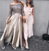 Silver Sequined Formal Long Sleeve casamento backless elegant evening long Prom Party 2018 mother of the bride Dress