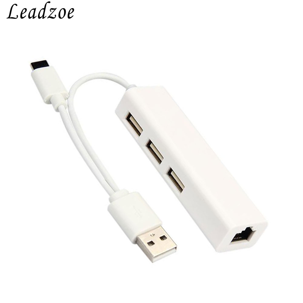 Leadzoe USB HUB Ethernet Network Adapter 3 Port USB HUB with RJ45 Ethernet and Type C powered For Macbook Android