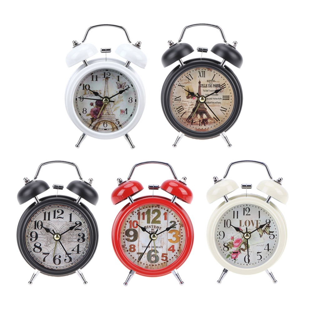 Reloj despertador Retro blanco negro para el hogar número redondo doble campana mesa de escritorio reloj Digital decoración para el hogar
