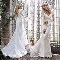 Popular Custom Made Hot Bohemian Vestidos de Casamento Do Laço Da Sereia Vestido De Noiva Sem Encosto V Pescoço Longo Da Luva Do Vintage Vestido de Noiva