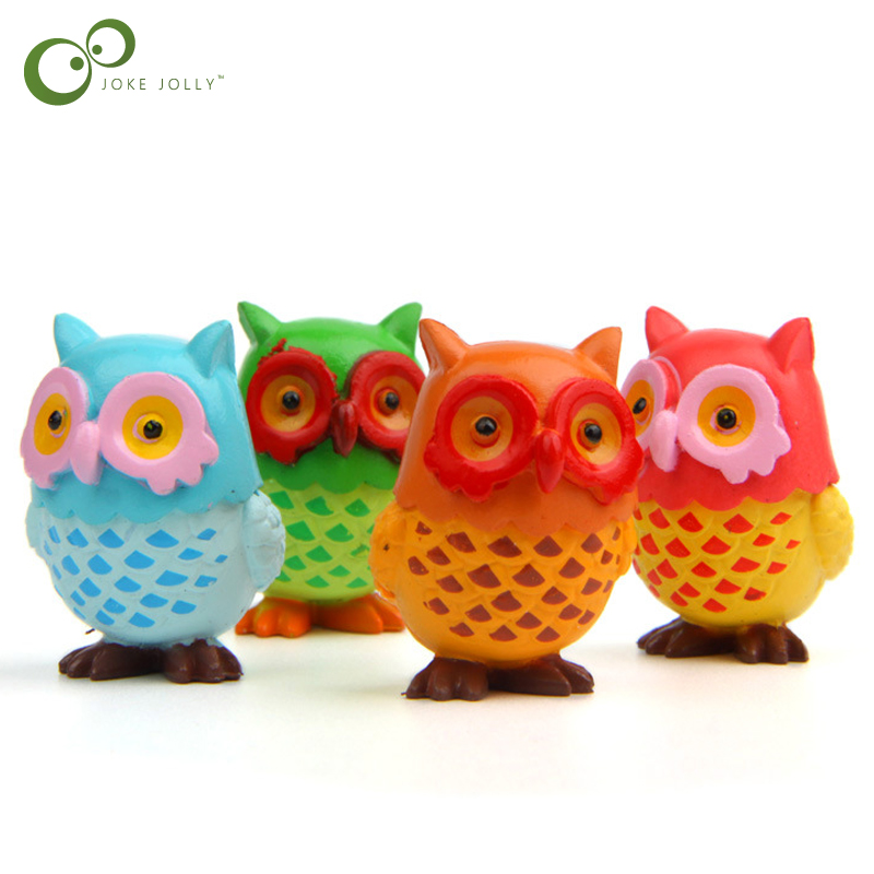 A Ton Of Rooms With Colorful Toys: 4Pcs/Set Cute Colorful Owl Model Action Toy Figure Animal