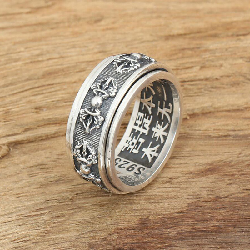 2016 Vajra Instruments Used In Buddhist Ring 100% Real 925 Sterling Silver  925 Ring For Men Wedding Ring Fine Biker Jewelry GY95