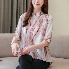 Long Style Women Blouse 2019 Summer New Print Chiffon Shirt Short Sleeve Flare Sleeve Korean Swallowtail hem Causal Shirts цены