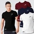 Hombres con estilo de la camiseta de algodón de manga corta camiseta culturismo ajuste delgado de la aptitud para el uso masculino streetwear clothing sólido ocasional