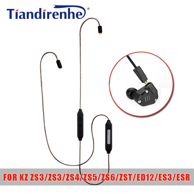 Tiandirenhe 0.75mm APT-X Bluetooth Câble pour ZS3 ZS4 ZS5 ZS6 ZST ED12 ES3 ESR Écouteurs Casque Casque Argent Plaqué ligne