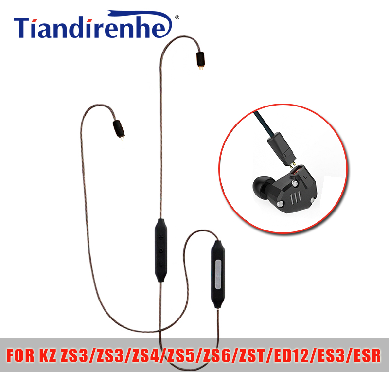 Tiandirenhe 0.75mm APT-X Bluetooth Cable for KZ ZS3 ZS4 ZS5 ZS6 ZST ED12 ES3 ESR Earphone Headset Headphone Silver Plated Line kwc km42 zs silver