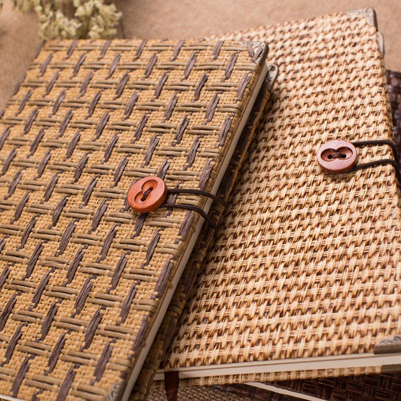 MOSUN Grass Weave Cover Notebook Literary Retro Notebook Creative Handmade Notepad 1PCSMOSUN Grass Weave Cover Notebook Literary Retro Notebook Creative Handmade Notepad 1PCS