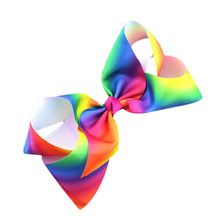 Newest Rainbow Popular Personality Girls Perfect Hair Accessories 1pc Luxury Beautiful Hair Bow(China)