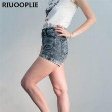 RIUOOPLIE/женские Стрейчевые джинсовые шорты в европейском стиле с высокой талией; Повседневные базовые джинсовые шорты