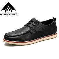 DJSUNNYMIX Brand Men S Shoes Lace Up Black Real Leather Loafers Mens Moccasins Shoes Italian Designer