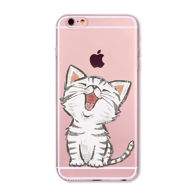 Soft Silicon Transparent Phone Case Cover Cute Cat