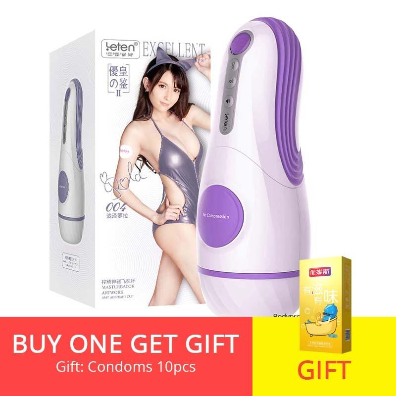 Bodypro Leten  Automatic Suck Vagina Masturbation Cup Vagina Real Pussy Penis Pump 10 Modes Vibrating Moan Male Mastrubator