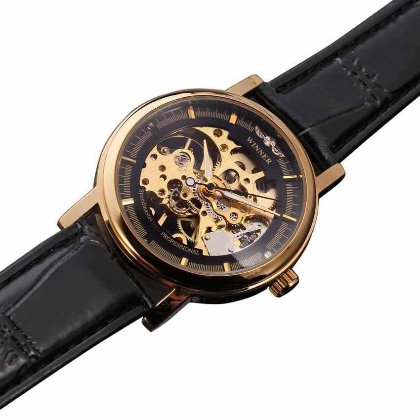 الفائز الساعات النساء ساعة ميكانيكية العلامة التجارية الفاخرة الذهبي الهيكل العظمي حزام من الجلد أنيقة السيدات اليد الرياح ساعة اليد