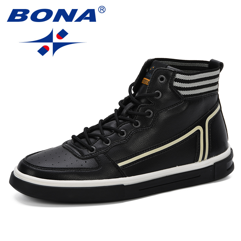 BONA 2019 Spring Autumn New Designer Style Man High Upper Shoes Casual Street Fashion Mixed Color