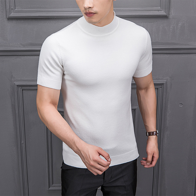 Hot DealsMRMT Men's Sweater Knitting Half-Sleeved Male Semi-High-Collar Autumn for Tops Pure-Color