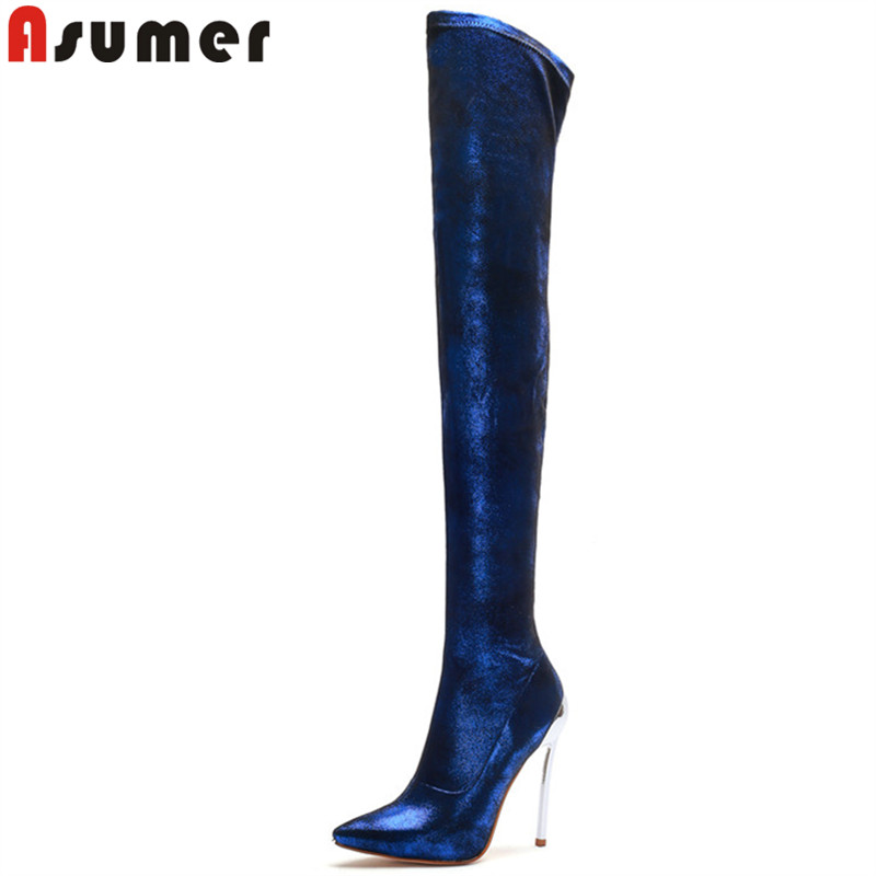 ASUMER blue fashion big size autumn winter boots pointed toe over the knee boots thin high heels ladies prom thigh high boots asumer big size 33 43 fashion autumn winter shoes woman pointed toe over the knee boots suede leather high heels boots