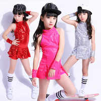 new concept 7a58e a49ff New Sequins Child Jazzy Dance Wear Kid Hip Hop Suit Paillette Modern Jazz  Dance Clothing Girl Cheerleading Performance Costumes