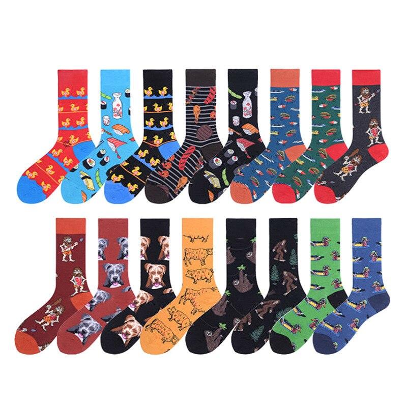 PEONFLY New 2019 Autumn Winter Men Socks Funny Cartoon Duck Dog Pattern Happy Socks Novelty Sushi Combed Cotton Sokken