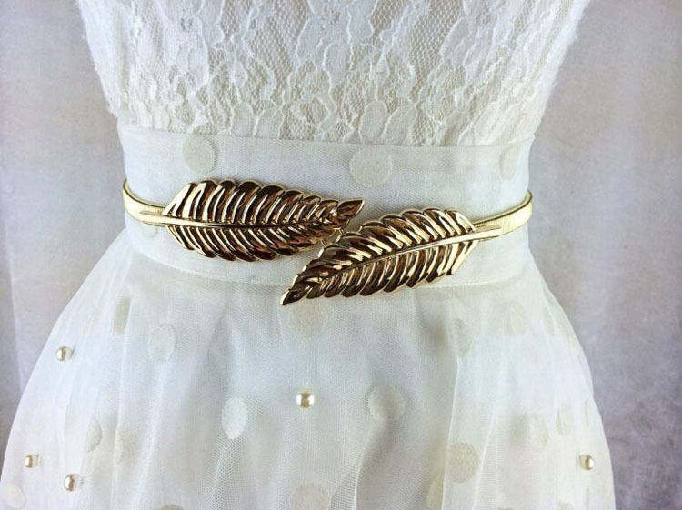 Women's Fashion Stylish Metal Golden/Silver Leaves Chain   Belt   Waist Elasticity Waist   Belt   HO677206