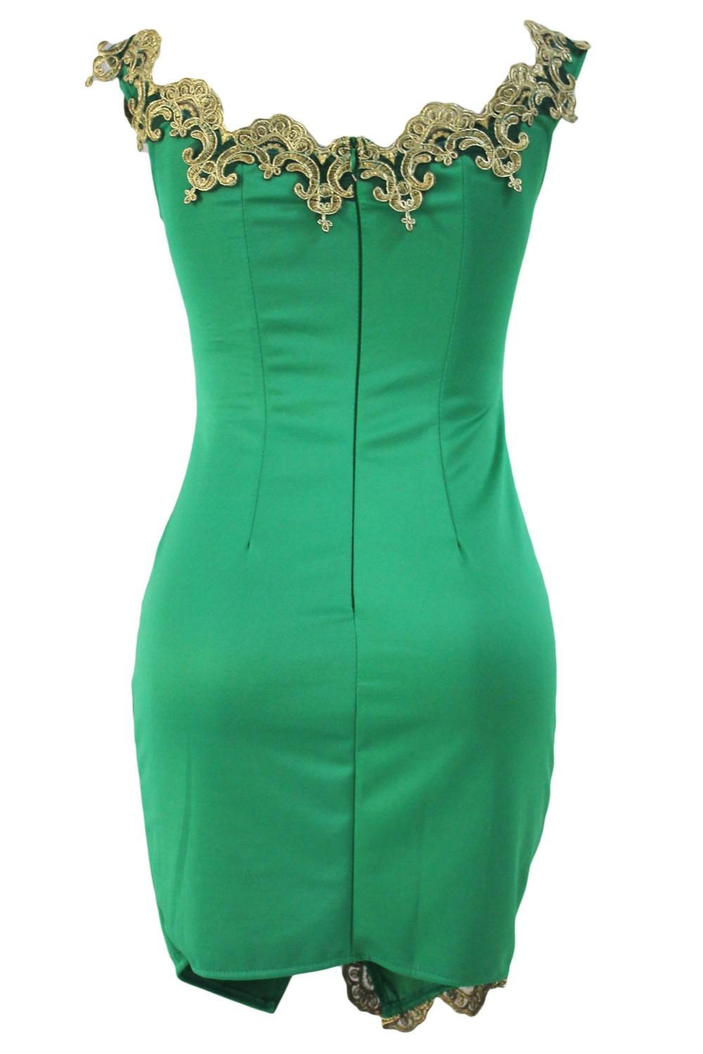 Gold-Lace-Applique-Green-Off-Shoulder-Mini-Dress-LC22715-9-4