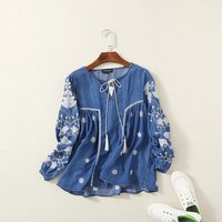 Aummer Summer Women Clothing Ethnic Embroidery Knotted Long Sleeve Tencel Denim Cotton Blouse Shirt Pullover Jeans