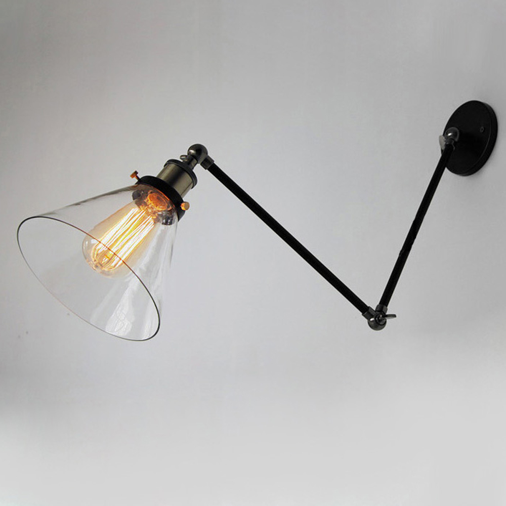 vintage industrial wall lamps loft swing arm wall sconce adjustable warehouse ambient lighting glass lampshade e27