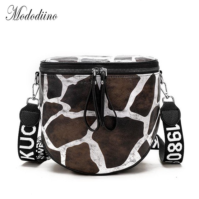 Mododiino Zebra Print Shoulder Bags PU Leather Crossbody Bag Women Bags Stripe Saddle Bag Leopard Bucket Bag Female Bag DNV0733