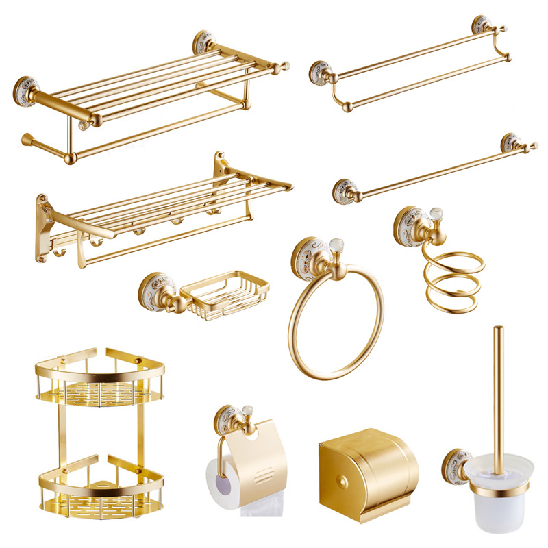 Aluminum Alloy Gold Crystal Bathroom Accessories Set Wall Mounted Ceramic Base Bathroom Products drawer