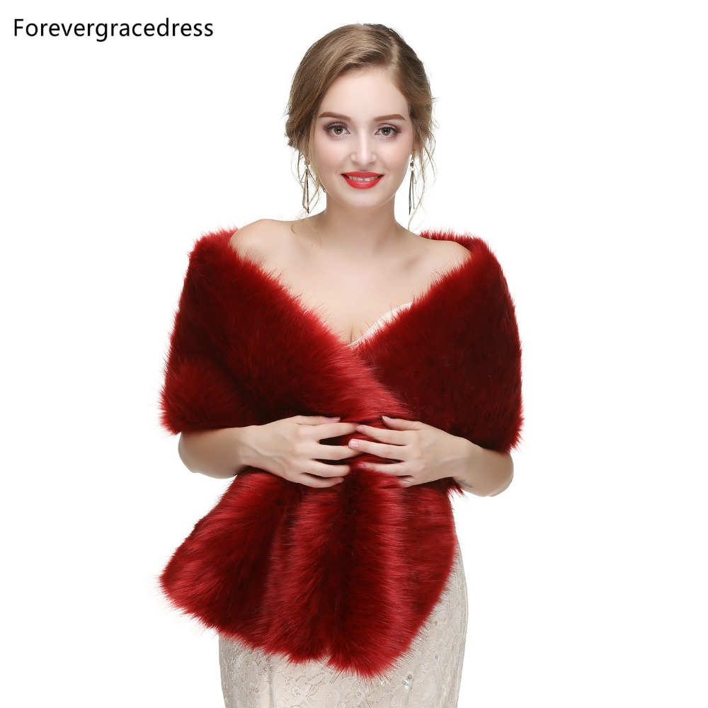 Forevergracedress 2019 Elegant Soft Autumn Winter Faux Fur Bride Wedding Wraps Bolero Jackets Bridal Coats Shawls Scarves PJ465