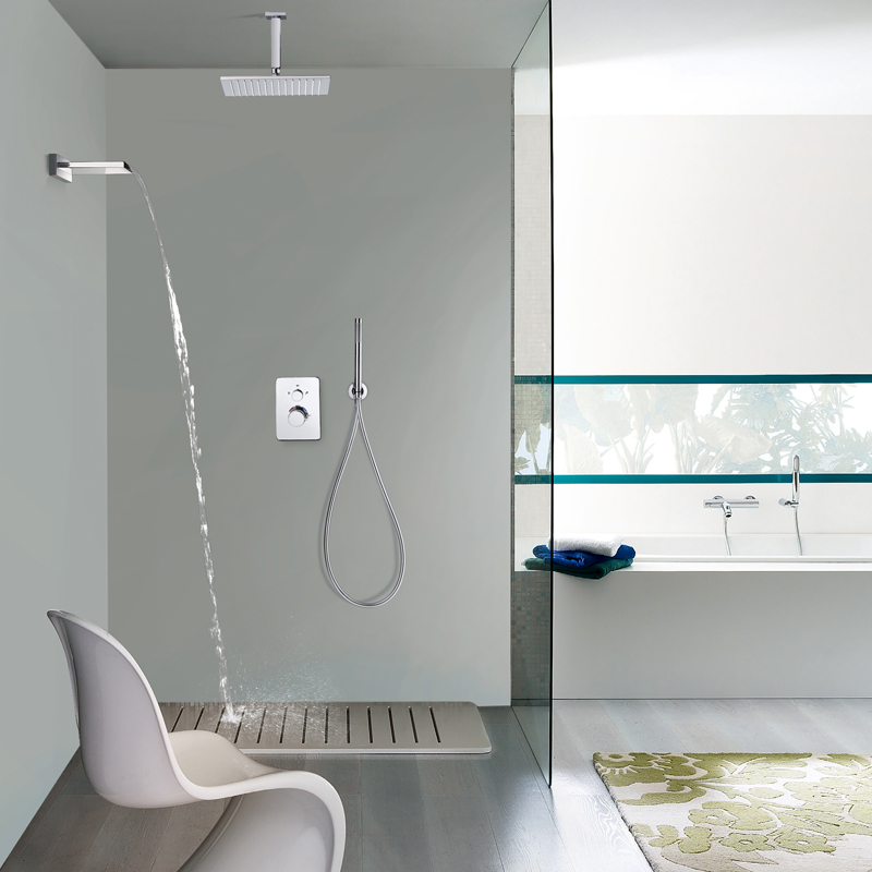 In-wall Thermostatic Faucets Ceiling Shower Head Set Brass Rainfall Hand Hold Shower Waterfall ABS Showerhead Wall Mounted