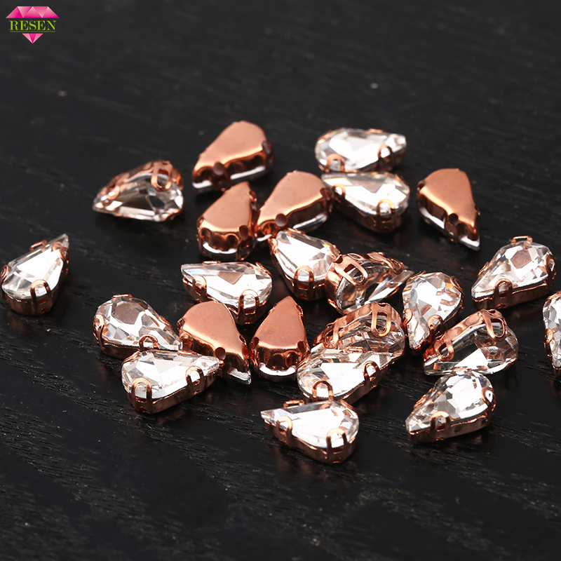 RESEN 6X10mm New Color 30pcs lot Rose Gold Teardrop Sew-On Rhinestones  Crystal Glass cd91ad90bbb2