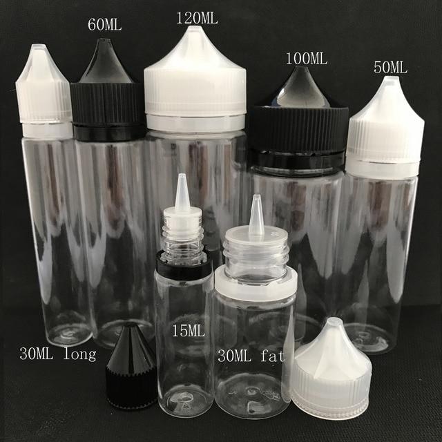 100 adet boş yağ E sıvı şişe 10ml 15ml 30ml 50ml 60ml 100ml 120ml kalem şekli plastik damlalık şişe E suyu için tırnak jeli
