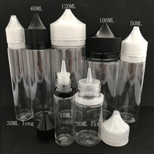 100pcs Empty Fat E Liquid Bottle 10ml 15ml 30ml 50ml 60ml 100ml 120ml Pen Shape Plastic Dropper Bottle for E juice Nail Gel